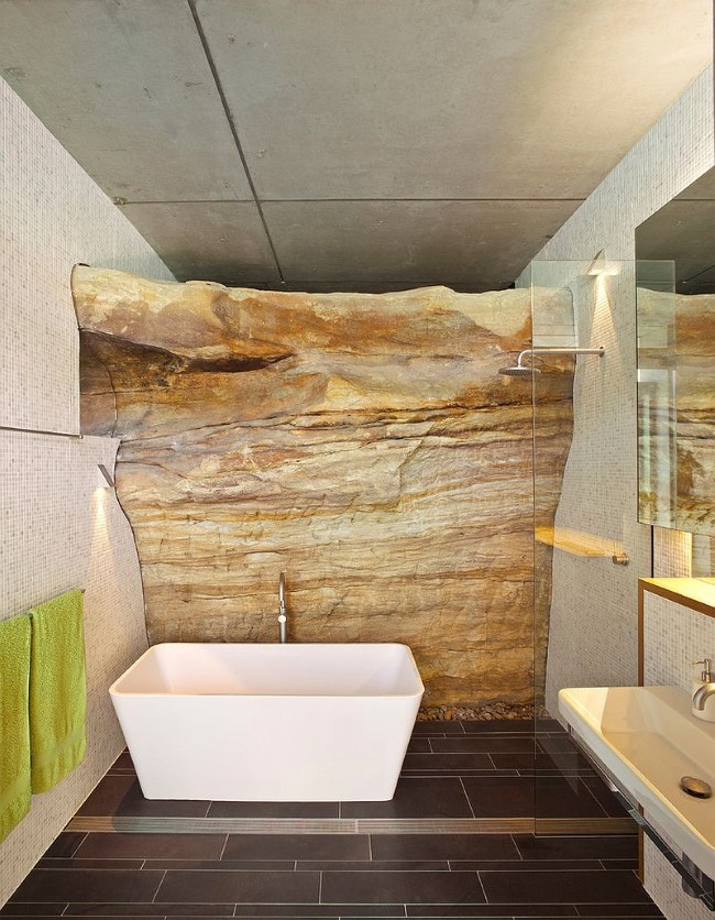 30 эксклюзивных ванных комнат со стенами из натурального камня