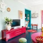 Цветные шкафы и комоды в интерьере