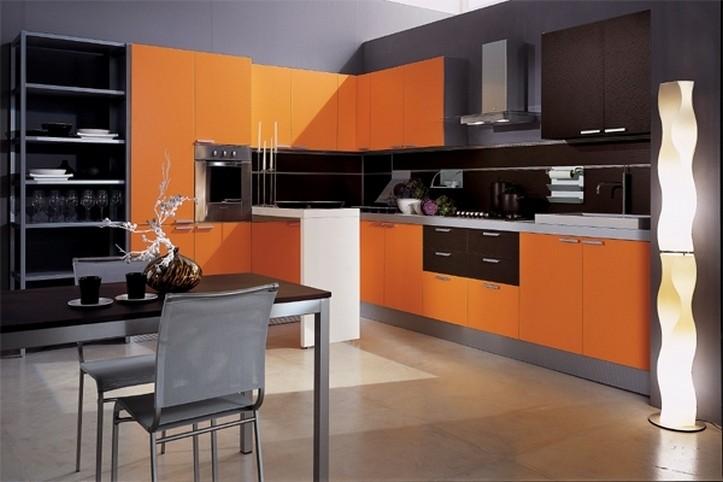 Дизайн кухни оранжевого цвета: игра контрастов