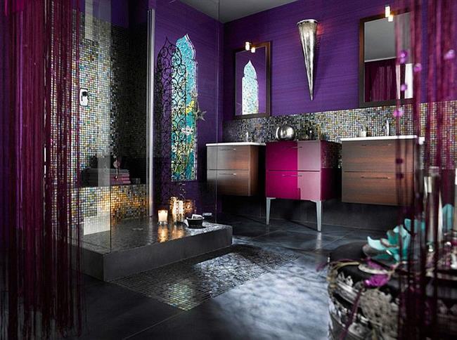 Фиолетовый цвет в интерьере: 23 яркие, стильные и необычные ванные комнаты