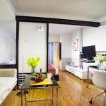 Интерьер однокомнатной квартиры с нишей: райский остров