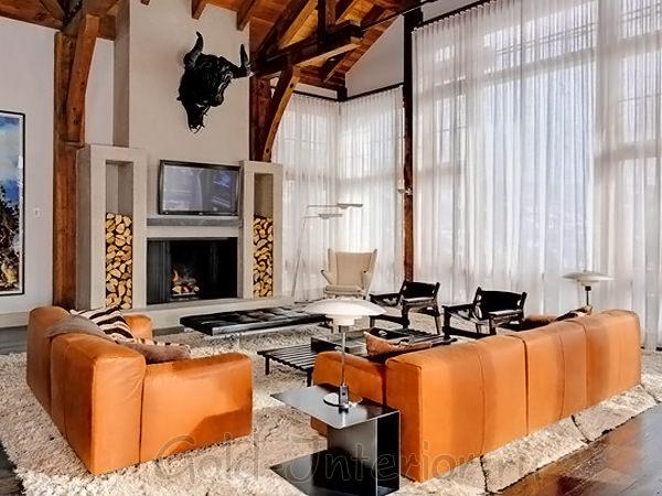 «Интерьер с оранжевым диваном: ярче не придумать»