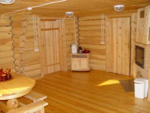 Отделка бани с помощью деревянной вагонки
