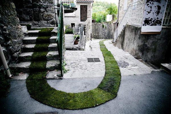 Зеленый ковер в небольшом городе